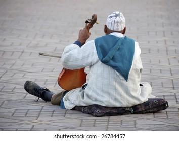 Violin player at Djemaa el Fna square,Marrakesh,Morocco