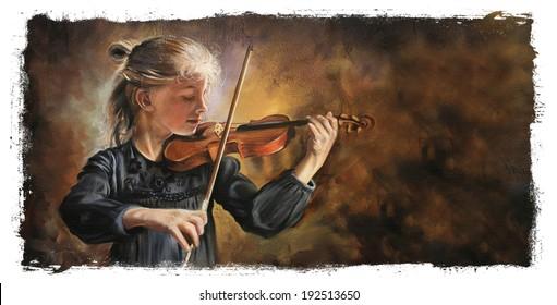 Violin player Torn Edges