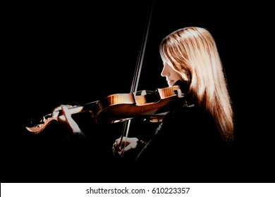 Violin player Violinist playing violin classical musician isolated on black