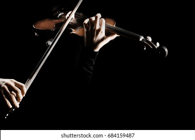 Violin player. Violinist playing violin hands bow music instrument isolated.