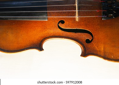 Violin. Profile violin. Four-stringed musical instrument of high tone.