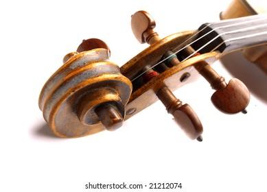 A violin scroll bath on white background