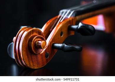 Violin scroll close up