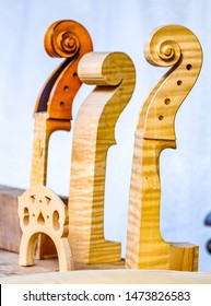 violin scrolls at a store near vienna