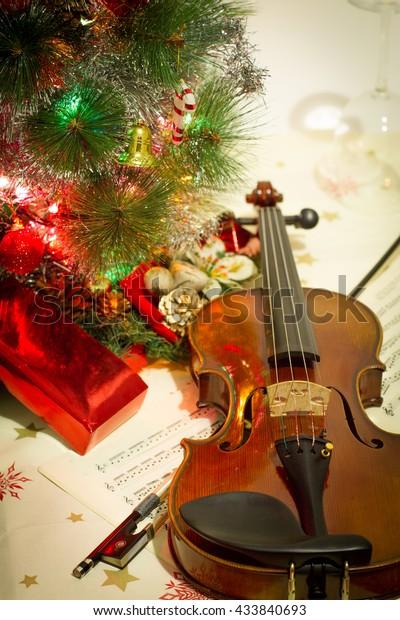 Christmas Violin.Violin Sheet Music Christmas Tree 1 Stock Photo Edit Now