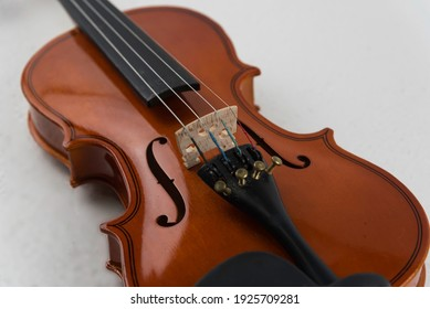 Violin and viola put on white background,During the practice break time to prepare For the concert.
