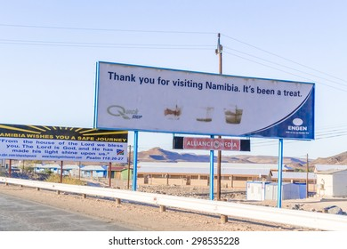 Vioolsdrfif, South Africa - May 3, 2015: Signs at the border between Namibia and Soth Africa.