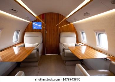 VIP Business Interior Jet Airplane.