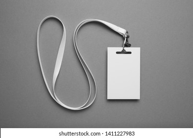VIP name tag, event visitor card on lanyard. Business conference pass mockup on grey background.