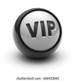 """VIP"" on The black Ball. 3D illustration."
