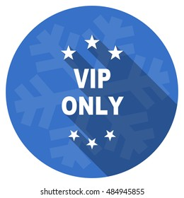 vip only blue flat design christmas winter web icon with snowflake