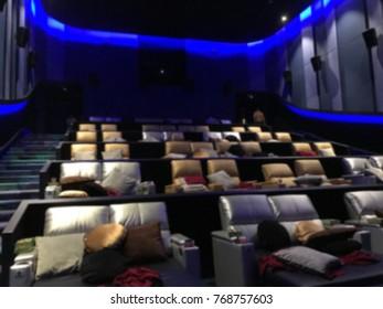 VIP opera chairs seat in luxury cinema, blur background.