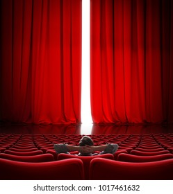 VIP sitting in front of slightly open movie theater red curtain 3d illustration