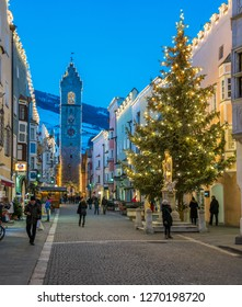 Vipiteno during Christmas time in the evening. Trentino Alto Adige, Italy. December-15-2018