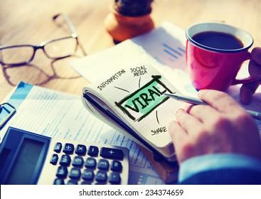 Viral Accounting Sharing Working at Home Writing Concept