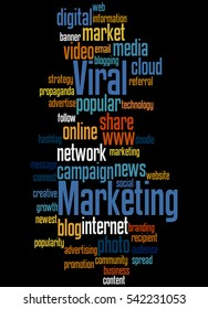 Viral marketing, word cloud concept on black background.