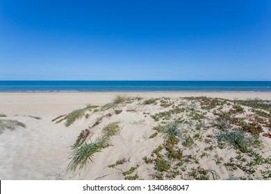 Virgin beach with sandy dunes in Denia, Valencia, Spain