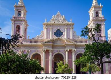 Virgin cathedral, Salta, Argentina. Blue Sky background