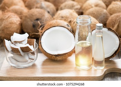 Virgin coconut oil in bottle. Raw coconut can make virgin oil by cool process for good fat no cholesterol . Pure Coconut oil can eat every day and wash or clean cosmetics