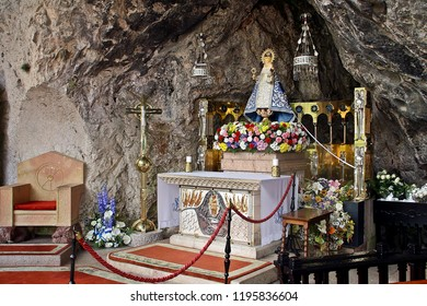 The Virgin of Covadonga on her altar, in Asturias.