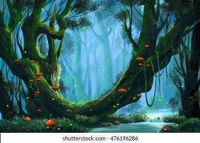 The Virgin Forest. Video Game's Digital CG Artwork, Concept Illustration, Realistic Cartoon Style Background