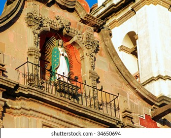 Virgin of Guadalupe statue on the facade of the Temple of the Congregation in Queretaro, Mexico.  Consecrated in 1680.