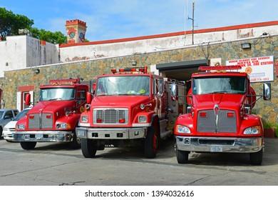 VIRGIN ISLANDS, USA - MAY 29, 2014: Fire Trucks in Charlotte Amalie, St. Thomas Island, US Virgin Islands, USA.