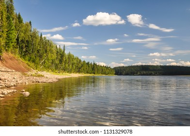 """Virgin Komi forests, picturesque banks of the river Shchugor. The object of UNESCO world heritage in the national Park """"Yugyd VA""""."""
