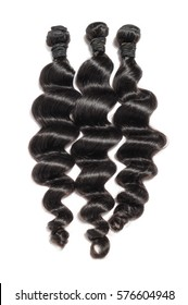 virgin loose wave black human hair extension bundles