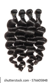 virgin loose wave black human hair extension bundles