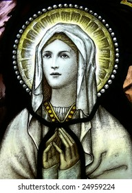 Virgin Mary in stained glass