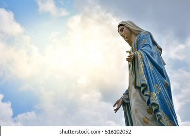 The Virgin Mary statue at The Cathedral of the Immaculate Conception is a Roman Catholic Diocese of Chanthaburi. , process in soft orange sun light style