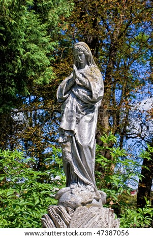 Virgin Mary Statue At The Garden