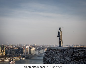Virgin Mary Statue located in the city centre of Budapest, Hungary