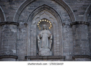 Virgin Mary statue on Notre Dame Basilica Montreal