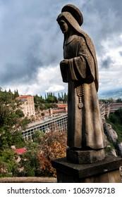Virgin Mary statue outside Santa Maria de Montserrat Abbey