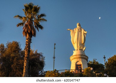 The Virgin Mary statue at the top of Cerro Cristobal in Santiago, Chile. The statue is located on the highest hill in the city.