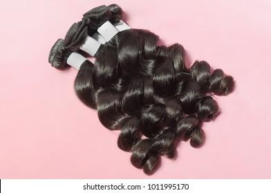 Virgin remy loose spiral black human hair weaves extensions bundles