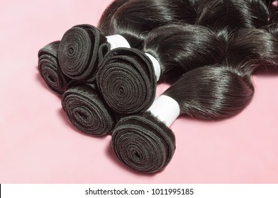 Virgin remy loose spiral black human hair weaves extensions bundles