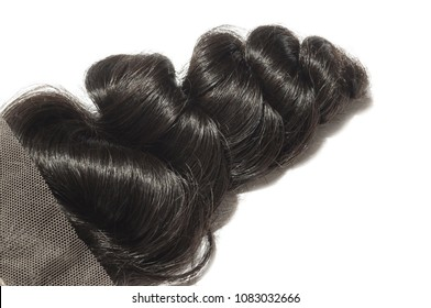 Virgin remy middle part loose wavy black human hair weaves extensions lace closure
