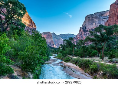 The Virgin River flowing through Zion National Park, Utah
