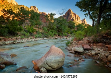 The Virgin River flowing towards The Watchman in Zion National Park.