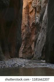 The Virgin River as it flows through The Narrows, Zion National Park, Utah