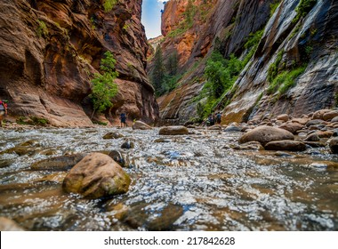 virgin river narrows  in zion national park utah usa