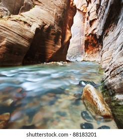 Virgin River Narrows in  Zion National Park, Utah, USA