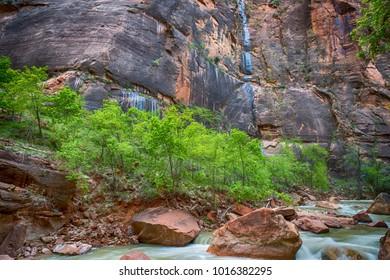 The Virgin River winding through Zion national Park, Utah