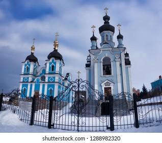 The Virgin Skete of Sviatohirsk Lavra in winter. Temple in the village Bohorodychne near Sviatohirsk