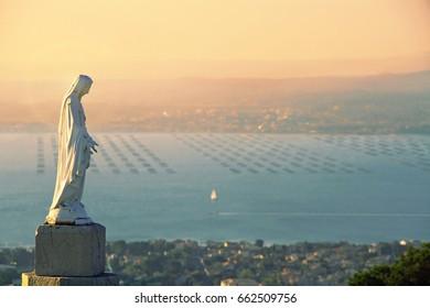 Virgin Statue Notre Dame de Salette, Mont Saint Clair, Sete, Herault, Languedoc-Roussillon, France