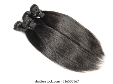 Virgin straight black permed kinky coarse afro human hair extensions