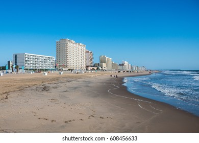 VIRGINIA BEACH, VIRGINIA - AUGUST 09, 2015: The Virginia Beach oceanfront, including the fishing pier, oceanfront hotels, restaurants and attractions, a very popular tourist destination.